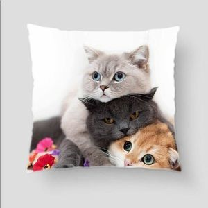 Cat Lovers Pillow case New zip closure 18 x18